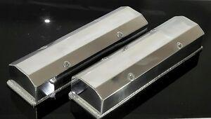 SBC CHEVY POLISHED FABRICATED TALL ALUMINUM VALVE COVERS NO ACC. HOLES 6350-POL