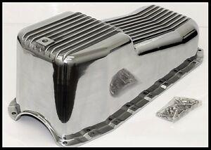 SBC CHEVY ALUMINUM OIL PAN 2pc RMS 80-85 PASS SIDE DIPSTICK  # 8443-OP CLEARANCE