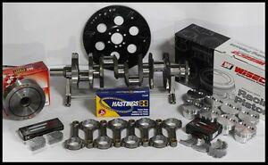 """SBC CHEVY 406 ASSEMBLY SCAT CRANK 6"""" RODS WISECO FLAT TOP 4.165 PISTONS 400 MJ"""