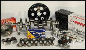 """383 STROKER ASSEMBLY SCAT CRANK 6"""" RODS WISECO +4cc DOME 030 PISTONS 1PC RMS"""