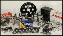 """383 STROKER ASSEMBLY SCAT CRANK 6"""" RODS WISECO +4cc DOME 040 PISTONS 1PC RMS"""